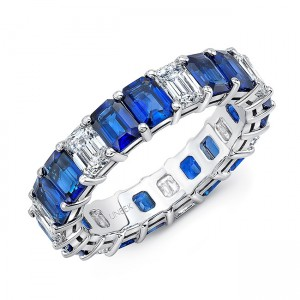 Uneek Emerald-Cut Blue Sapphire and Emerald-Cut Diamond Eternity Band in 18K White Gold