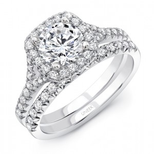 """Uneek Round Diamond Engagement Ring with Cushion-Shaped Halo in 14K White Gold, with 14K Rose Gold Filigree Detail in Gallery and """"Surprise"""" Diamonds, with Matching Wedding Band"""