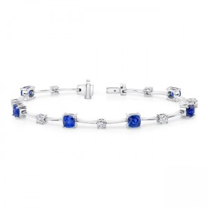 Uneek Cushion-Cut Sapphire Bracelet with Round Diamond Accents
