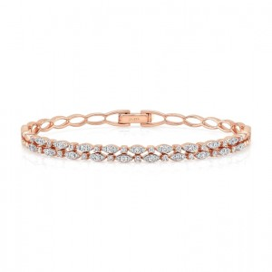 "Uneek ""Fairfax"" Two-Row Stackable Diamond Bangle Bracelet, Rose Gold version"