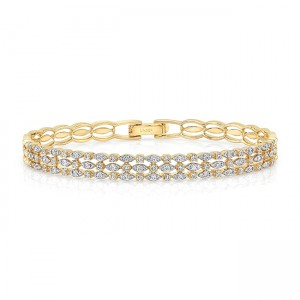 "Uneek ""Fairfax"" Three-Row Stack-Illusion Diamond Bangle Bracelet, Yellow Gold version"