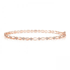 "Uneek ""Oriole"" Stackable Diamond Bangle, Rose Gold version"