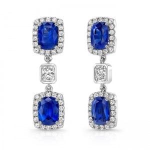 Cushion-Cut Blue Sapphire Earrings with Radiant Diamond Accents
