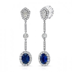 Uneek Oval Blue Sapphire Dangle Earrings with Kite-Shaped and Round Bezel Diamond Accents, 18K White Gold