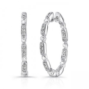 "Uneek ""Rodeo"" Petite Inside-Out Diamond Hoop Earrings, White Gold version"