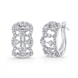 "Uneek ""Coralline"" Open Lace Diamond Huggie Hoop Earrings in 14K White Gold"