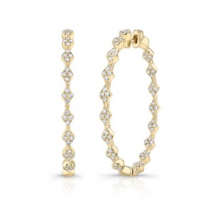 "Uneek ""Mulholland"" Inside-Out Diamond Hoop Earrings, Yellow Gold version"