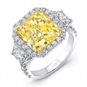 Uneek LVS1008RADFY Contemporary Radiant-Cut Yellow Diamond-Center Three-Stone Engagement Ring