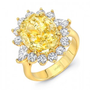 "Uneek LVS1014 ""Sunburst"" Oval Yellow Diamond Halo Engagement Ring"
