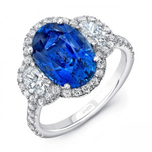 Uneek Oval Sapphire-Center Three-Stone Ring with Oval Diamond Sides, in 18K White Gold