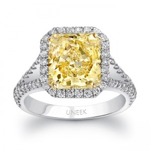 Uneek Radiant-Cut Fancy Yellow Diamond Halo Ring with Peekaboo Split Upper Shank and Filigree Detail, in Platinum and 18K Yellow Gold