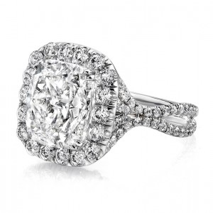 "Uneek LVS957 6-Carat Cuhsion-Cut Diamond Halo Engagement Ring with Pave ""Silhouette"" Double Shank"