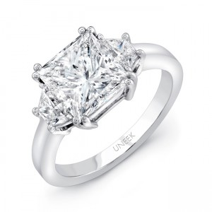 Uneek LVS962 Princess-Center Three-Stone Engagement Ring