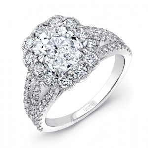 Uneek LVS976CU Cushion-Cut Diamond Engagement Ring with Antique-Inspired Scalloped Halo and Triple-Split Upper Shank