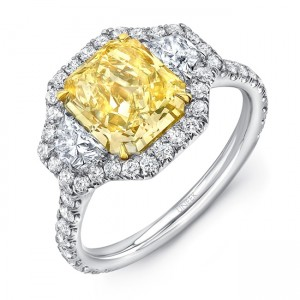 Uneek Radiant-Cut Yellow Diamond Center Three-Stone Engagement Ring with Pave Halo, in Platinum and 18K Yellow