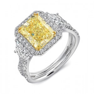 Uneek Three-Stone Engagement Ring with Radiant-Cut Fancy Yellow Diamond Center on Halo and Pave Double Shank