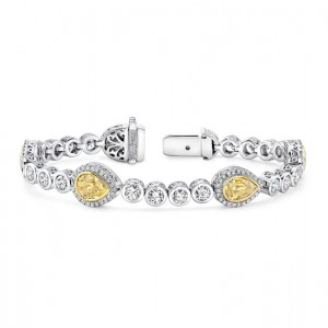 Uneek Pear-Shaped Yellow Diamond Bracelet with Round Colorless Diamond Bezels