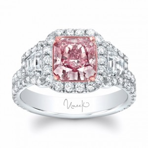 Uneek Fancy Brown-Pink Diamond Three-Stone Halo Ring with Double Shank, 18K Gold