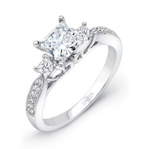 Uneek Princess-Cut Diamond Three-Stone Engagement Ring with Milgrain-Trimmed Pave Upper Shank, 14K White Gold