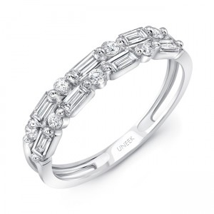 Uneek Baguette and Round Diamond Stack-Illusion Band, 14K White Gold