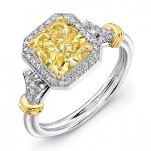 Uneek Radiant-Cut Fancy Yellow Diamond Halo Engagement Ring with Vintage-Inspired Accents, 18K White and Yellow Gold