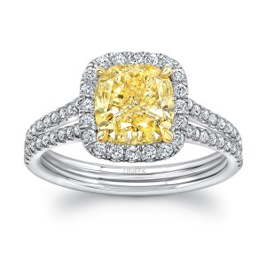 Uneek Cushion-Cut Yellow Diamond Halo Engagement Ring with Double Shank and Peekaboo Shoulders