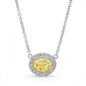 Uneek East-West Oval Yellow Diamond Halo Pendant, 18K Gold