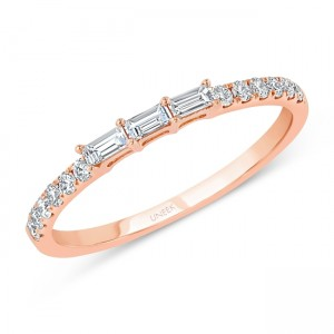 """Ashcroft"" Baguette and Round Diamond Stacking Ring, rose gold version"