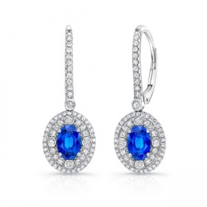 Uneek Oval Blue Sapphire Earrings with Diamond Double Halos and Accent Bezels 18K White Gold