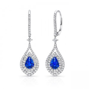Uneek Pear-Shaped Blue Sapphire Dangle Earrings with Diamond Double Halos, 18K White Gold