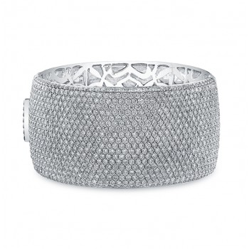 Uneek 19-Row Wide Pavé Diamond Cuff Bracelet 18K White Gold