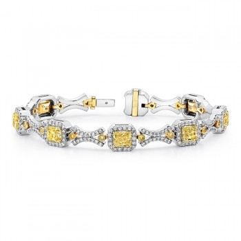 Uneek Contemporary Fancy Yellow Diamond Two-Tone Bracelet with Geometric Motif