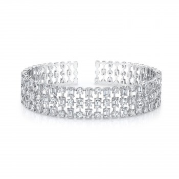Uneek Round and Emerald Cut Diamond Bangle, in 18K White Gold