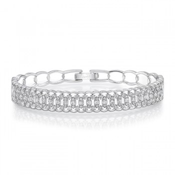 """Uneek """"Broderie Anglaise"""" Open Lace Diamond Bangle Bracelet in 18K White Gold"""