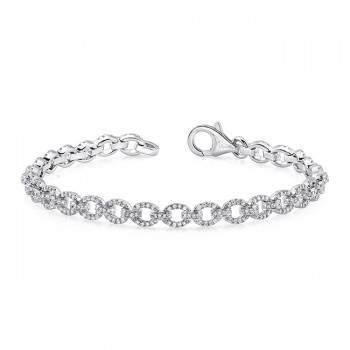 Uneek Pavé Chain Link Bracelet with Ovoid Links, in 14K White Gold