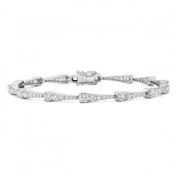 Uneek 18K White Gold Bracelet with Graduating Round Diamonds in Tapered Bars