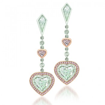 Uneek 18K White and Rose Gold Pink and White Diamond Heart Shaped Earrings LVE117