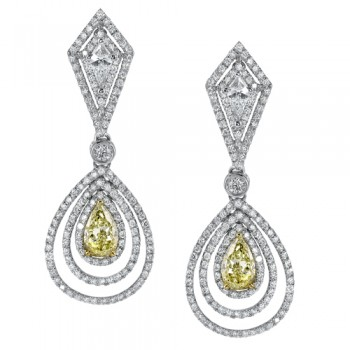 Uneek 18K White Gold Yellow Diamond Pear Shape Earrings LVE182