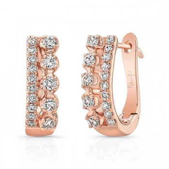 "Uneek ""Arras"" Diamond Huggie Hoop Earrings, in 18K Rose Gold"
