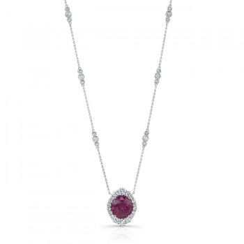 Uneek Round Rhodolite Necklace, in 18K White Gold
