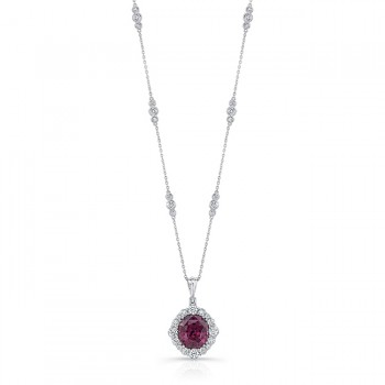 Uneek Cushion Rhodolite Necklace, in 18K White Gold