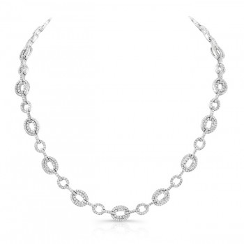 Uneek Diamond Pave Mixed Oval Link Necklace, 18K White Gold