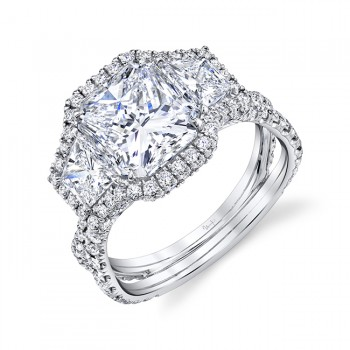 Uneek Radiant Diamond Engagement Ring, in Platinum