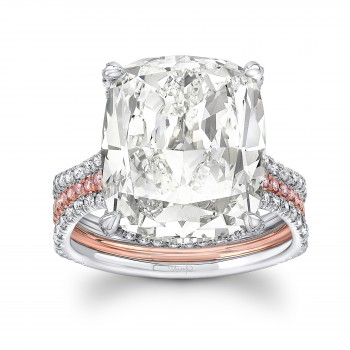 Uneek Cushion Cut Diamond Engagement Ring, in Platinum and 18K Rose Gold - LVS1066