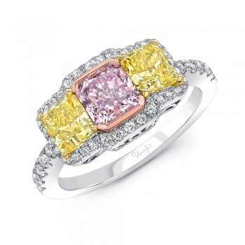 Uneek Three Stone Radiand Cut Pink Diamond Engagement Ring with Radiant Cut Fancy Yellow Diamonds and Round White Diamonds Side Stones, in Platinum