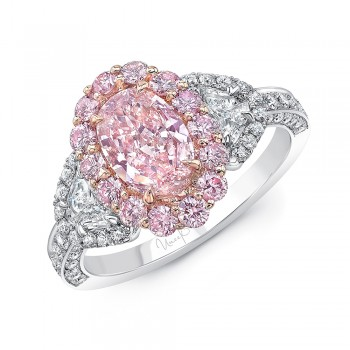 Uneek Oval Light Pink Diamond Engagement Ring SI2 GIA Certified with Pink Purple Diamonds, White Round and Half Moon Shaped Diamonds Side Stones, in Platinum