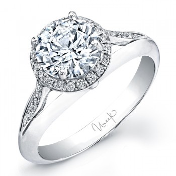 Uneek Round Diamond Halo Engagement Ring with Split Upper Shank and Cathedral Pavé Shoulder Detail