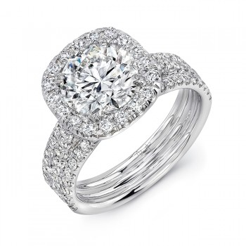 Uneek LVS871CU-2CTRD Round Diamond Engagement Ring with Cushion-Shaped Halo and Pave Triple Shank