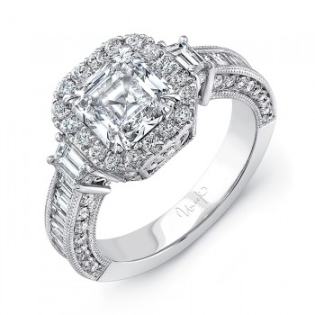 Uneek Estate-Inspired Asscher-Cut Diamond Ring with Trapezoid Sidestones, 18K White Gold