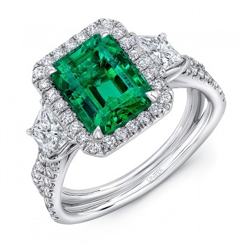 """Uneek Three-Stone Ring with Emerald-Cut Green Emerald Center and Pave """"Silhouette"""" Shank, in Platinum"""